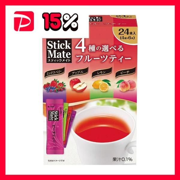 (まとめ)名糖 スティックメイト4種のフルーツティーアソート 1セット(72本:24本×3箱)〔×5セット〕