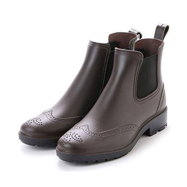 アシスタントレインブーツメンズレインシューズサイドゴアブーツビジネスシューズウイングチップ長靴(ブラウン,24.0cm