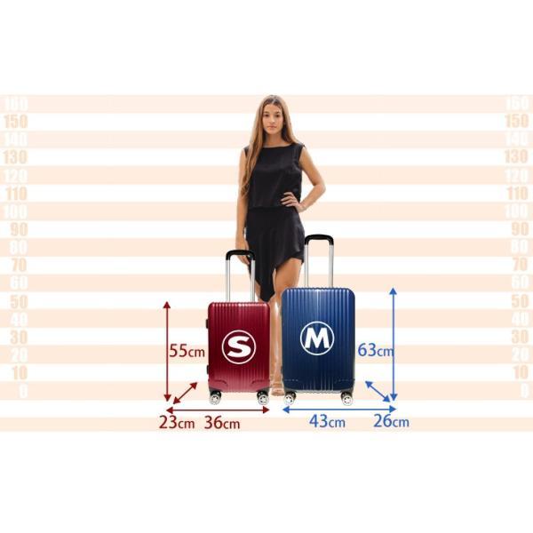 スーツケース ストッパー Mサイズ 軽量 ダブルキャスター キャリーケース TSAロック ファスナー|rexstar|06