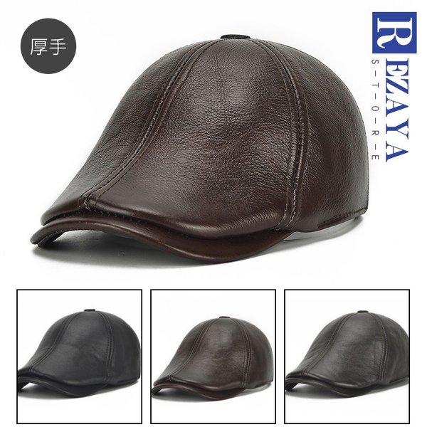 02fe43683178ce 春秋冬 本革 ハンチング帽 帽子 メンズ レザー帽子 牛革 厚手 耳あて付き メンズ