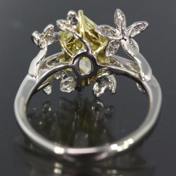 【新品】Fancy Yellow diamond ダイヤモンドリング Pt900-5.15g/1.578ct/FD:0.20ct/中央宝石研究所/11号/#51 翌日配送可/h190325/280196