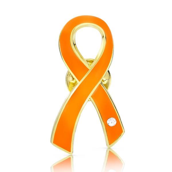 オレンジリボン ピンバッジ 大 人種差別 暴力 アウェアネス バッチ バッヂ|ribbon-shop