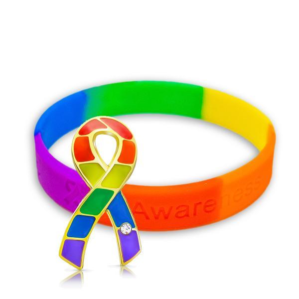 レインボーリボン ピンバッジ ブレスレット セット大 ギフトボックス付 LGBT ゲイ レズ プライド 性的少数者 アウェアネス バッチ シリコン