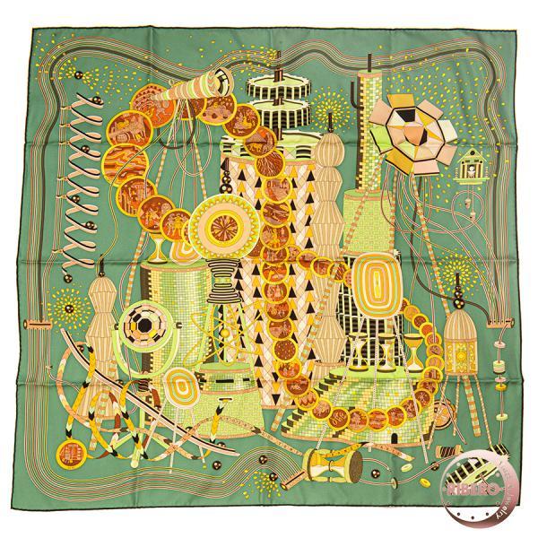HERMESエルメスカレ90LELABORATOIREDUTEMPS時の実験室002702Sスカーフ2012グリーン