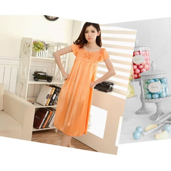 大きいサイズ/フリーサイズ お姫様気分なサテン素材パフ袖オレンジネグリジェ|ribon|02