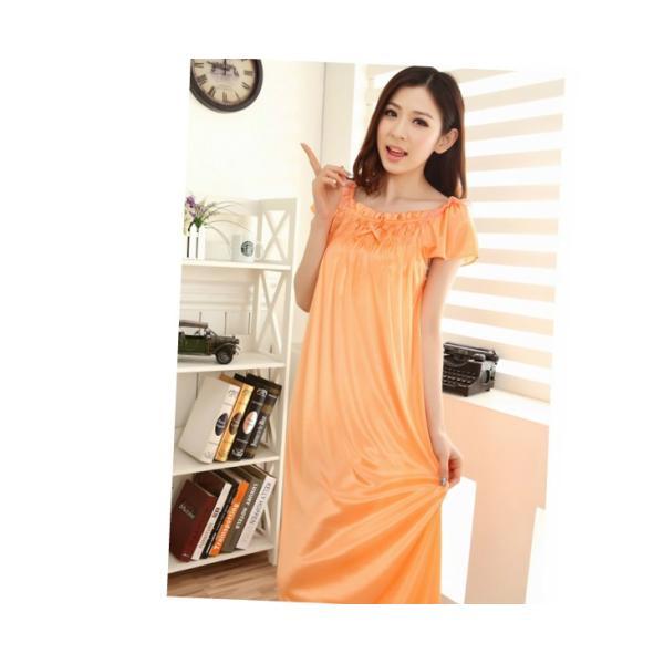 大きいサイズ/フリーサイズ お姫様気分なサテン素材パフ袖オレンジネグリジェ|ribon|03