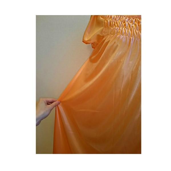 大きいサイズ/フリーサイズ お姫様気分なサテン素材パフ袖オレンジネグリジェ|ribon|04