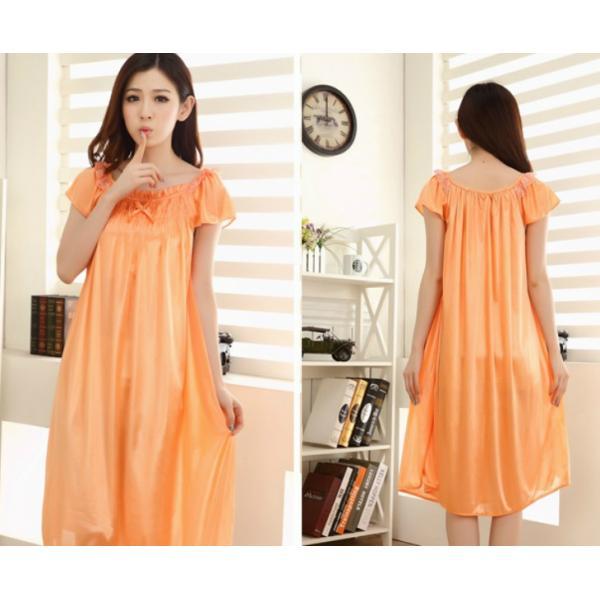 大きいサイズ/フリーサイズ お姫様気分なサテン素材パフ袖オレンジネグリジェ|ribon|05