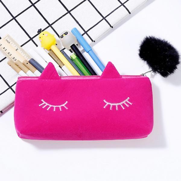 ペンケース 筆箱 ポーチ かわいい 猫 ベロア調 レディース|ribution|02