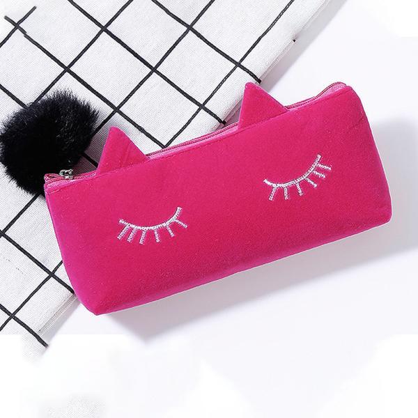 ペンケース 筆箱 ポーチ かわいい 猫 ベロア調 レディース|ribution|08