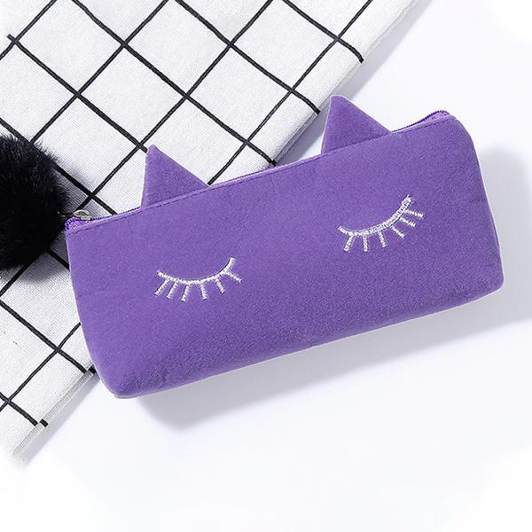 ペンケース 筆箱 ポーチ かわいい 猫 ベロア調 レディース|ribution|09