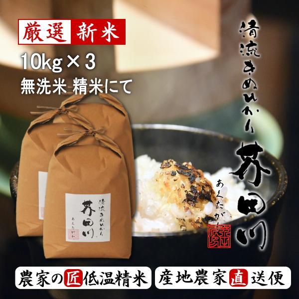 令和3年秋 新米 予約生産枠 お米 30kg 10kg×3袋 無洗米にて精米 清流きぬひかり芥田川 農家直送 送料無料 米農家の低温精米
