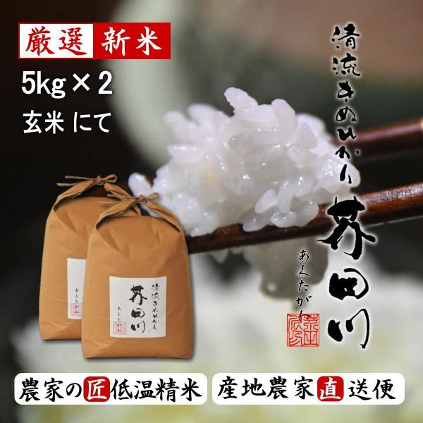 令和3年秋 新米 予約生産枠 お米 10kg 5kg×2 玄米にて 送料無料 清流きぬひかり芥田川 農家直送