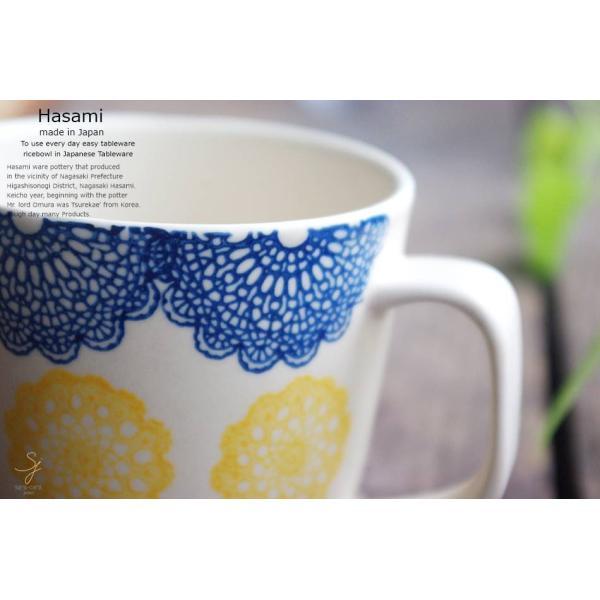 和食器 波佐見焼 レース マグカップ カフェ コーヒー 紅茶 カフェオレ  青 ブルー  陶器 食器 うつわ おうち|ricebowl|03