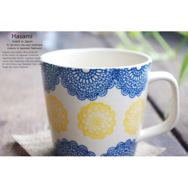 和食器 波佐見焼 レース マグカップ カフェ コーヒー 紅茶 カフェオレ  青 ブルー  陶器 食器 うつわ おうち|ricebowl|05