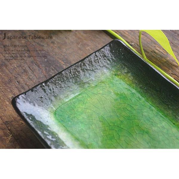 メロンシャーベットのようなイエローグリーン緑釉 貫入 前菜ディッシュ 和食器 長角皿 焼物皿 串皿|ricebowl|02
