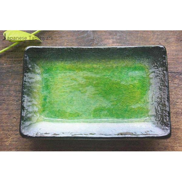 メロンシャーベットのようなイエローグリーン緑釉 貫入 前菜ディッシュ 和食器 長角皿 焼物皿 串皿|ricebowl|10