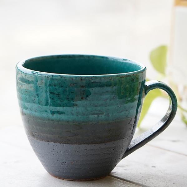 和食器 松助窯 おうちマグカップ 南蛮 織部グリーン カフェ コーヒー 紅茶 器 美濃焼 陶器 食器 手づくり
