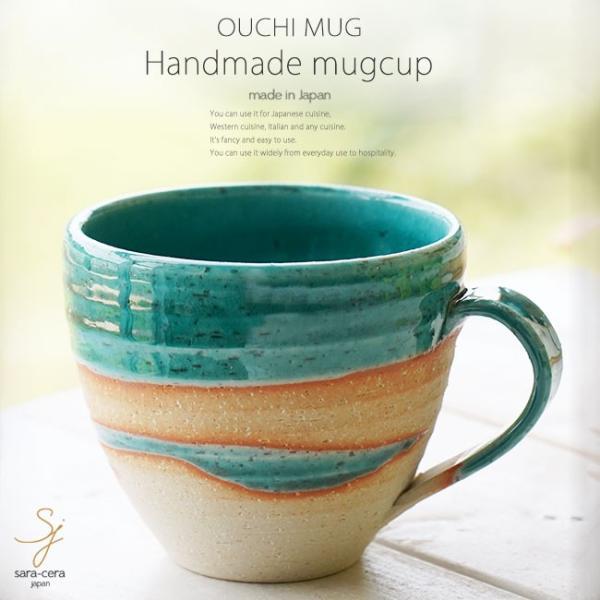 和食器 松助窯 おうちマグカップ 織部グリーンブルーウェーブ カフェ コーヒー 紅茶 器 皿 美濃焼 陶器 食器 手づくり