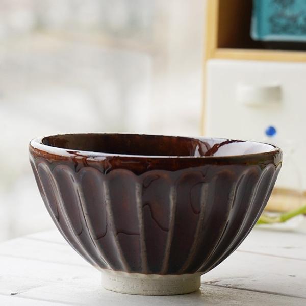 和食器 松助窯 しのぎ ご飯茶碗 アメ釉 お茶碗 ごはん おうち 飯碗 カフェボウル 日本製 美濃焼 丼 シリアル スープ 陶器