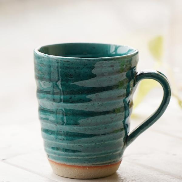 和食器 松助窯 職人の手でそーっと!くぼませたマグカップ 織部グリーンブルーオフィス コーヒー おしゃれ 紅茶 器 皿 美濃焼 陶器 食器 手づくり