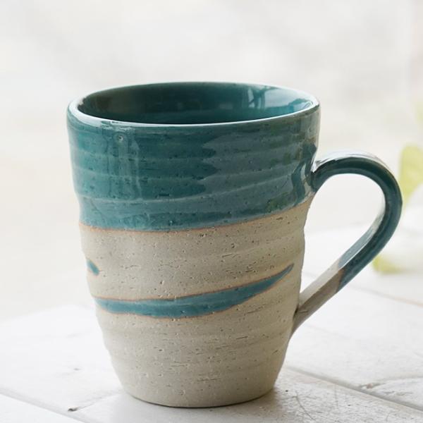 和食器 松助窯 職人の手でそーっと!くぼませたマグカップ トルコブルーウェーブ オフィス コーヒー おしゃれ 紅茶 器 皿 美濃焼 陶器 食器 手づくり
