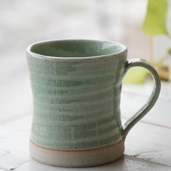 和食器 松助窯 カフェマグカップ 新緑グリーン釉オフィス コーヒー おしゃれ 紅茶 器 皿 美濃焼 陶器 食器 手づくり