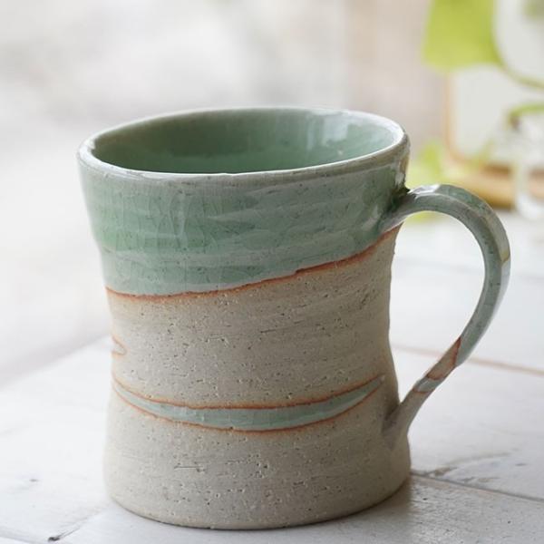 和食器 松助窯 カフェマグカップ 新緑グリーンウェーブ オフィス コーヒー おしゃれ 紅茶 器 皿 美濃焼 陶器 食器 手づくり