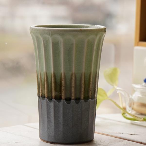 和食器 松助窯 しのぎ ロングタンブラー 南蛮 新緑グリーン ビール 焼酎 父の日 サワー ピルスナー フリーカップ カフェ 器 美濃焼 陶器 食器 手づくり