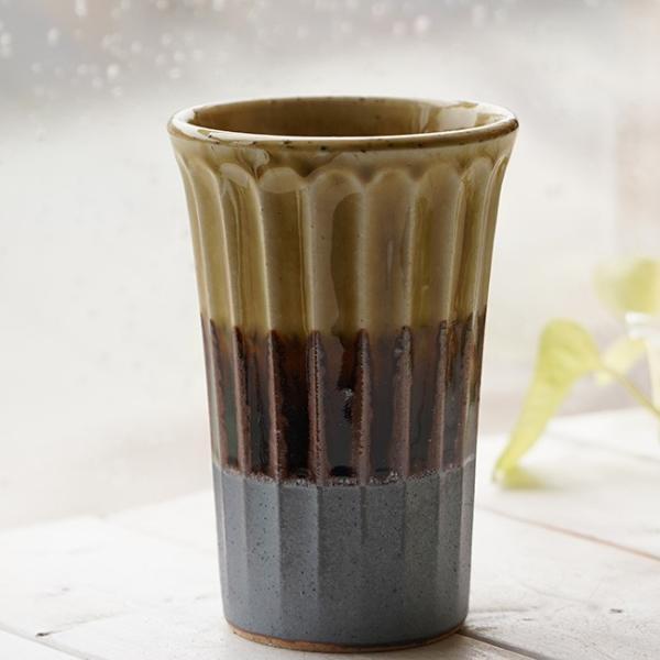 和食器 松助窯 しのぎ ロングタンブラー 南蛮 ビードロ ビール 焼酎 父の日 サワー ピルスナー フリーカップ カフェ 器 美濃焼 陶器 食器 手づくり