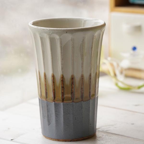 和食器 松助窯 しのぎ ロングタンブラー 南蛮 白萩 ビール 焼酎 父の日 サワー ピルスナー フリーカップ カフェ 器 美濃焼 陶器 食器 手づくり