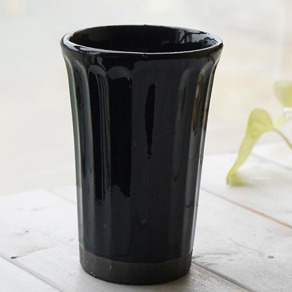 和食器 松助窯 しのぎ ロングタンブラー 黒ミカゲ なまこ釉 ビール 焼酎 父の日 サワー ピルスナー フリーカップ カフェ 器 美濃焼 陶器 食器 手づくり