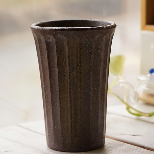 和食器 松助窯 しのぎ ロングタンブラー 美濃備前釉 ビール 焼酎 父の日 サワー ピルスナー フリーカップ カフェ 器 美濃焼 陶器 食器 手づくり