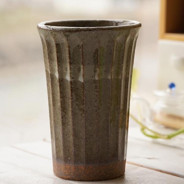 和食器 松助窯 しのぎ ロングタンブラー 土灰釉 ビール 焼酎 父の日 サワー ピルスナー フリーカップ カフェ 器 美濃焼 陶器 食器 手づくり