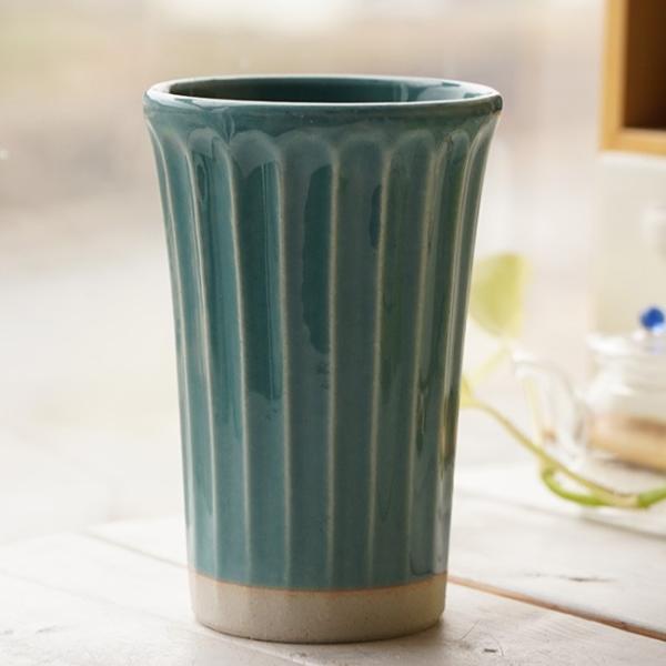 和食器 松助窯 しのぎ ロングタンブラー トルコブルー ビール 焼酎 父の日 サワー ピルスナー フリーカップ カフェ 器 美濃焼 陶器 食器 手づくり