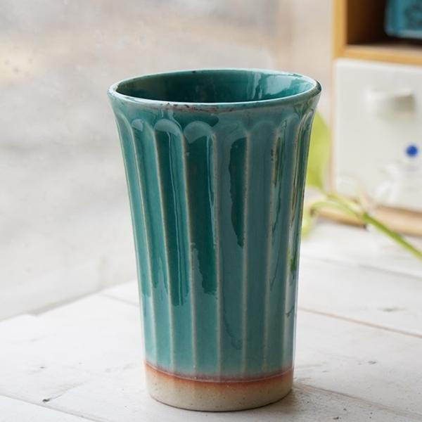 和食器 松助窯 しのぎ ロングタンブラー 織部グリーンブルービール 焼酎 父の日 サワー ピルスナー フリーカップ カフェ 器 美濃焼 陶器 食器 手づくり