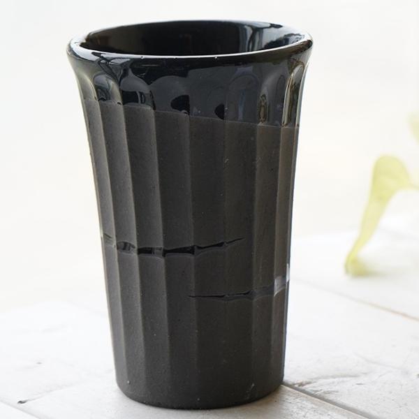 和食器 松助窯 しのぎ ロングタンブラー 黒ミカゲ なまこ釉ウェーブ ビール 焼酎 父の日 サワー ピルスナー フリーカップ カフェ 器 美濃焼 陶器 食器 手づくり
