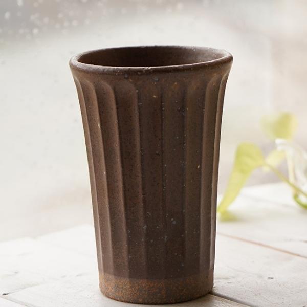 和食器 松助窯 しのぎ ロングタンブラー 白雪釉 赤土 ビール 焼酎 父の日 サワー ピルスナー フリーカップ カフェ 器 美濃焼 陶器 食器 手づくり