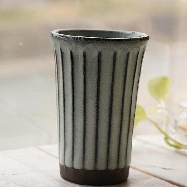 和食器 松助窯 しのぎ ロングタンブラー 黒ミカゲ均窯 ビール 焼酎 父の日 サワー ピルスナー フリーカップ カフェ 器 美濃焼 陶器 食器 手づくり