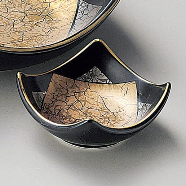 和食器 小さな四角マロン金銀黒マット 小鉢 小皿 豆皿 7.7×3.2cm うつわ 陶器 おしゃれ おうち