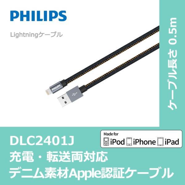 デニムiPhoneケーブル0.5mライトニングケーブルApple認証MFi急速充電データ転送ケーブルiPhoneiPadAirP