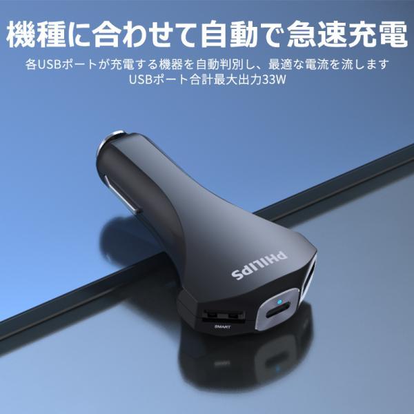 シガー ソケット カー チャージャー QC3.0 急速充電 iPhone Android USBポート×2 タイプC ポート搭載 12V 24V車対応 送料無料 PHILIPS ブランド|richgo-japan|06