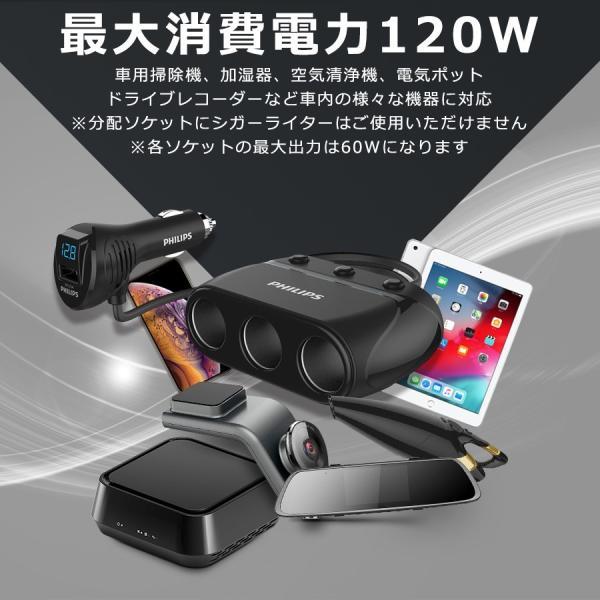 シガー ソケット カー チャージャー 3連 分配器 iPhone Android 急速充電 USB 2.1A 電圧測定 機能 搭載 12V 24V 車対応 送料無料 PHILIPS ブランド 直販店|richgo-japan|05