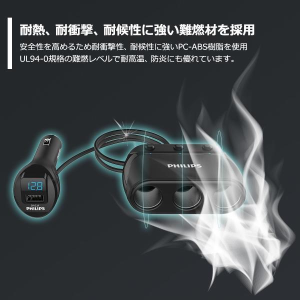 シガー ソケット カー チャージャー 3連 分配器 iPhone Android 急速充電 USB 2.1A 電圧測定 機能 搭載 12V 24V 車対応 送料無料 PHILIPS ブランド 直販店|richgo-japan|08