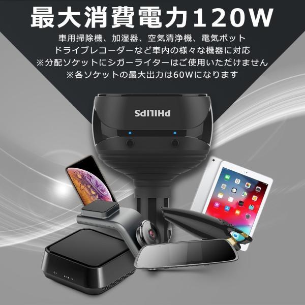 シガー ソケット カー チャージャー 2連 分配器 iPhone Android 急速充電 USB 3.1A 電圧測定 機能 搭載 12V 24V 車対応 送料無料 PHILIPS|richgo-japan|06