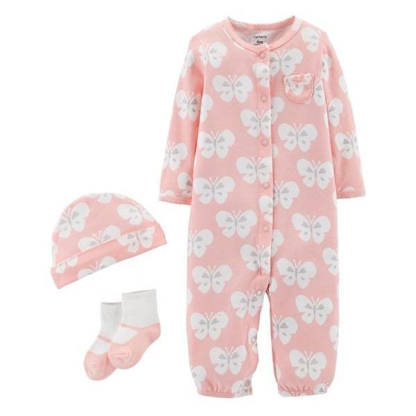 Carter's カーターズ ガールズ 3点セット バタフライ カバーオール セットアップ 出産祝い プレゼント ピンク 女の子 セット