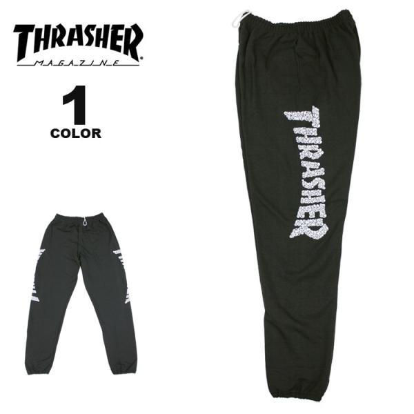 (公式)スラッシャー スウェット パンツ THRASHER SKULLS SWEAT PANTS メンズ レディース 裏起毛 ブラック 黒 S-XL