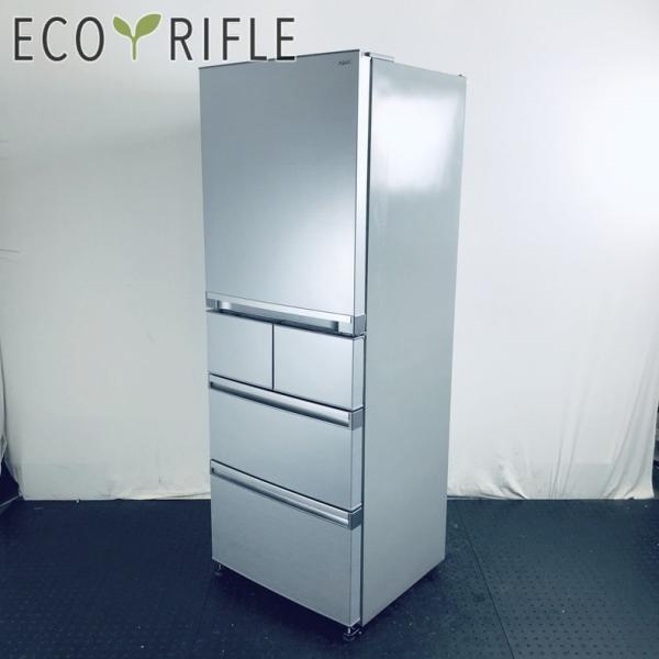 冷蔵庫ファミリー中古2013年製5ドアアクアAQUA400Lシルバー自動製氷機能付き右開きAQR-SD40B