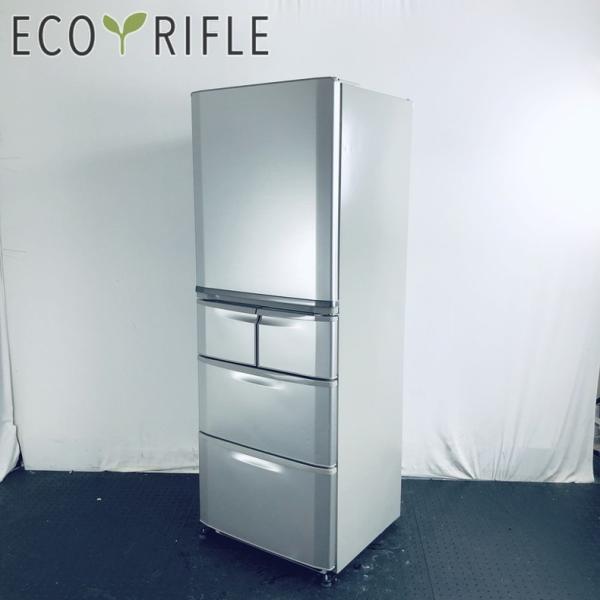 冷蔵庫ファミリー中古2011年製5ドアサンヨーSANYO400Lシルバーファン式右開きSR-S40U