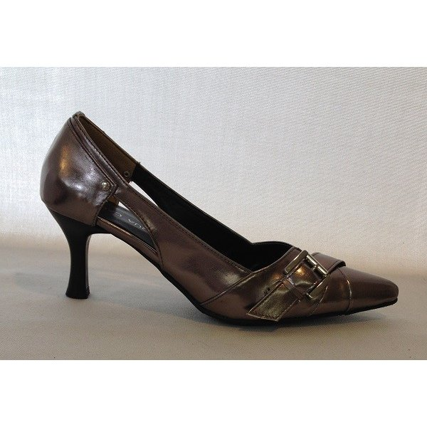 激安 靴 レディース ACQUA CALDA デザインパンプス ガンメタ 25.0cm(2E)